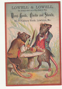 Lowell And Lowell Dress Goods Lewiston Me Rats Toadstool Dining Knife Card 1880s