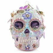 Jay Strongwater Skull With Butterflies Glass Ornament Sdh20042-250 New