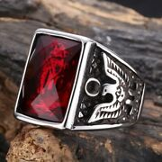Ww2 World War Ii German Eagle Ring Stainless Steel With Stone Repro
