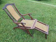 Antique Folding Luxury Wood And Cane Steamer Deck Chair Circa 1890
