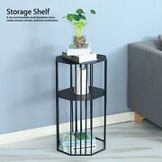 2layers Retro Side Table Metal Wire Storage Basket Home Furniture Black