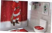 4 Pcs Christmas Bathroom Sets With Non-slip Rugs Toilet Lid Cover Bath A14