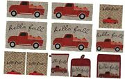 Hello Fall Farmhouse Kitchen Towels Set 8 Piece Includes Vintage Red Truck