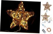 Christmas Tree Topper Natural Rattan Star Xmas Tree Topper Decorations
