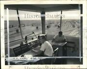 1959 Press Photo Officers At The Great Northern Railway Yard Control Tower In Nd