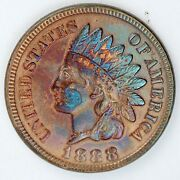 1888 United States Indian Head Cent / Penny - Bu+ Brilliant Uncirculated - Toned