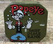 Vintage 1956 Popeye Daily Dime Bank Tin Working Bank - Missing Back Cover