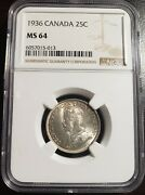 Canada 1936 Silver 25 Cents, Bar, Rotated Dies, Ngc Graded Ms-64