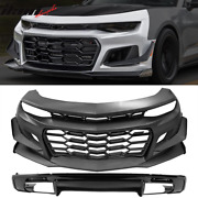 Fits 16-21 Chevy Camaro 1le Style Front Bumper Cover Factory Style Rear Diffuser