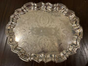 Vintage 14 X 11 Leonard Silverplate Footed Cocktail Tray, Ornate Serving Platter