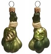 Green Capers Polish Blown Glass Christmas Ornament Set Of 2 Holiday Decorations