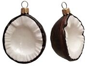 Slice Of Coconut Polish Blown Glass Christmas Ornament Set Of 2 Decorations