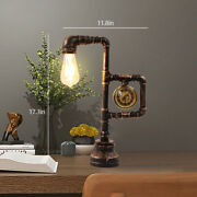 Vintage Industrial Water Pipe Table Light Wrought Iron Metal Desk Lamps W/ Clock
