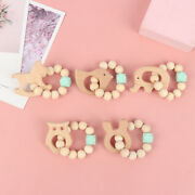 Baby Natural Wood Silicone Teether Nursing Bracelets Wood Rattles Toys Givi
