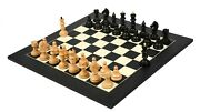 Combo Of Reproduced Chessmen In Ebonized Boxwood - 4.0 With Wooden Chess Board