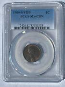 1909 S Vdb Lincoln Wheat Penny Pcgs Ms62bn Rare Key Date Coin