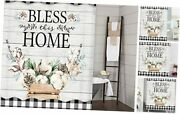 Farmhouse Shower Curtain, Farm Cotton Flower On Country Rustic Gray Wooden
