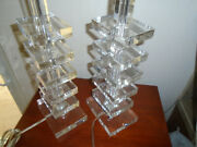 Pair Artistic Acrylic Lucite Stacked Square Mid Century Modern Table Lamp Set