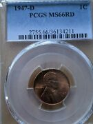 1947-d Red Pcgs Ms-66 Lincoln Bu Coin Uncirculated Cent Whole Set Listed