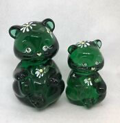 Fenton Pair Of Green Bears W White Daisies Big Bear And Mini Hphtf Signed