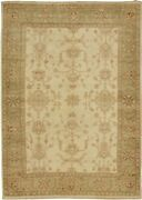 Vintage Hand-knotted Carpet 5and0397 X 7and0399 Traditional Cream Wool Area Rug
