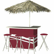 Classic Burgundy Deluxe Portable Bar Set- Thatched Umbrella And 4 Stools