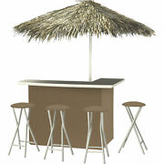 Solid Black Deluxe Portable Bar- Thatched Umbrella And 4 Stools