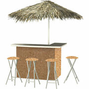 Corkboard Deluxe Portable Bar- Thatched Umbrella And 4 Stools