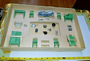 Vintage Htf Tootsie Toy Dollhouse Furniture Kitchen And Accessories W Box And Iron