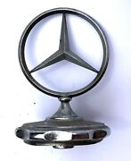Vintage Mercedes-benz Three Pointed Star Radiator Cap Hood Ornament With Spring
