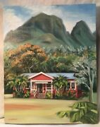 """Penny Nichols 2000 Mountains And Building Oil Painting 11""""x14"""" Canvas"""