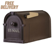 Postal Pro Post-mount Hampton Mailbox In Bronze And With Gold Lettering New