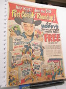 Newspaper Ad 1951 Hopalong Cassidy Premium Post Cereal Box Trading Card Set Full