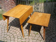 Solid Maple Paul Mccobb Planner Group Mid Century Drop Side Dining Table + End
