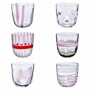 Art Glass Italy Carlo Moretti I Diversi-bicch Drinking Glass Set Of 6 New