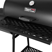 30 In. Charcoal Grill With Offset Smoker | Royal Gourmet Black Steel Bbq Cart