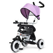 Toppbuy 4-in-1 Foldable Baby Single Stroller Tricycle With Seat Belt Canopy