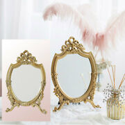 Vintage Style Resin Golden Makeup Mirror With Stand Bathroom Dresser Mirrors