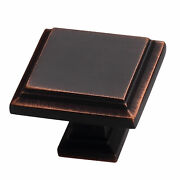 Sapphire Accent Modern Sq Cabinet Knobs 5pc Set Oil Rubbed Bronze Finish 1in Dia