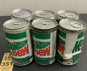 5 Empty Vintage Mountain Dew Straight Side Steel Soda Pop Cans 1 Budweiser Can