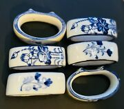 Vintage Blue And White Porcelain Ceramic Napkin Rings Set/6 Orient Classic Style