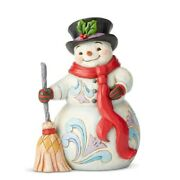 Jim Shore Heartwood Creek Snowman With Broom And Scarf Figurine 6004142 New