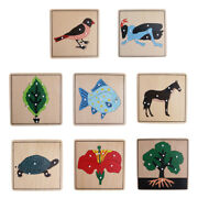 Wooden Plywood 8 Animal Plant Shape Puzzles Preshool Kids Toddlers Toy