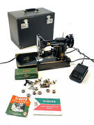 1953 Antique Vintage Singer 221 Featherweight Sewing Machine Case And Accessories