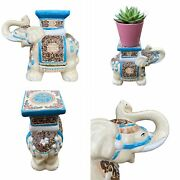 🌟vintage Small Ceramic Indian Elephant Plant Candle Stand Bookend Ornament