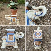 🌟vintage Maison Gardenia Ceramic Indian Elephant Plant Candle Stand Side Table