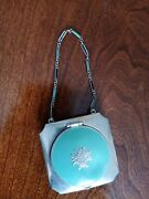 Antique - Art Deco Silver And Enamel Compact With Beautiful Wrist Chain Very Nice