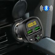 Usb Multifuction Bluetooth Fast Car Charger Fm Transmitter Kit Led Mp3 Player