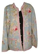 Provence Pretty Pastel Quilted Reversible Jacket 100 Cotton Womenand039s Size Large