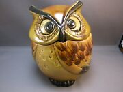 Poppytrail By Metlox Owl Canister Cookie Jar 6.5 Inches In Great Condition